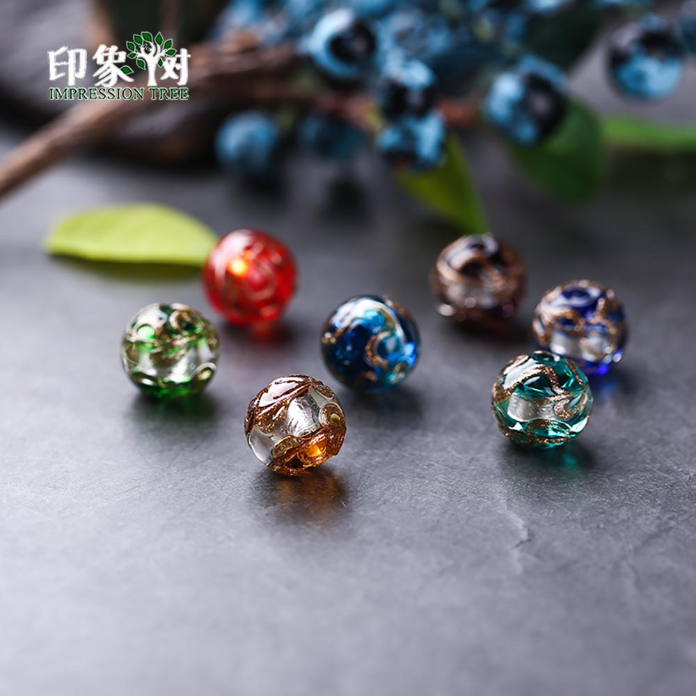 Radient 12mm 10pcs Sands Powder Handmade Lampwork Glazed Beads Transparent Japanese Crystal Round Spacer Beads Diy Jewelry Makings 1604 Beads & Jewelry Making Beads