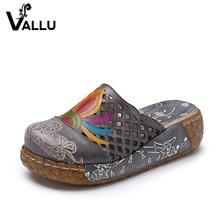 Big Size 41-42 Women Slippers Genuine Leather Flip Flops Summer Women Platform Shoes Cut Out High Heels Slide Sandals Women