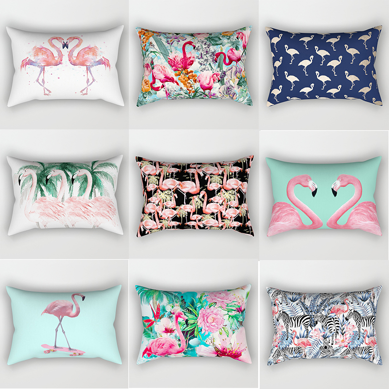 Hot Sale Tropical Beauty Flamingo Large Pillow Cases Animal Pillow Cover  Rectangle Pillow Cases Home Pillow Cover 70*50cm