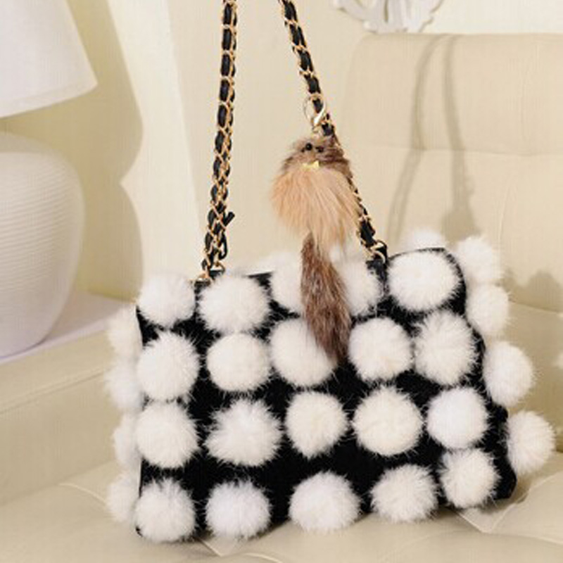 Winter Woman Luxury Shoulder Bag Fashion Woman Handbags Faux Fur Bags For Ladies Flap Women Chains Bag Ladies Messenger Sac