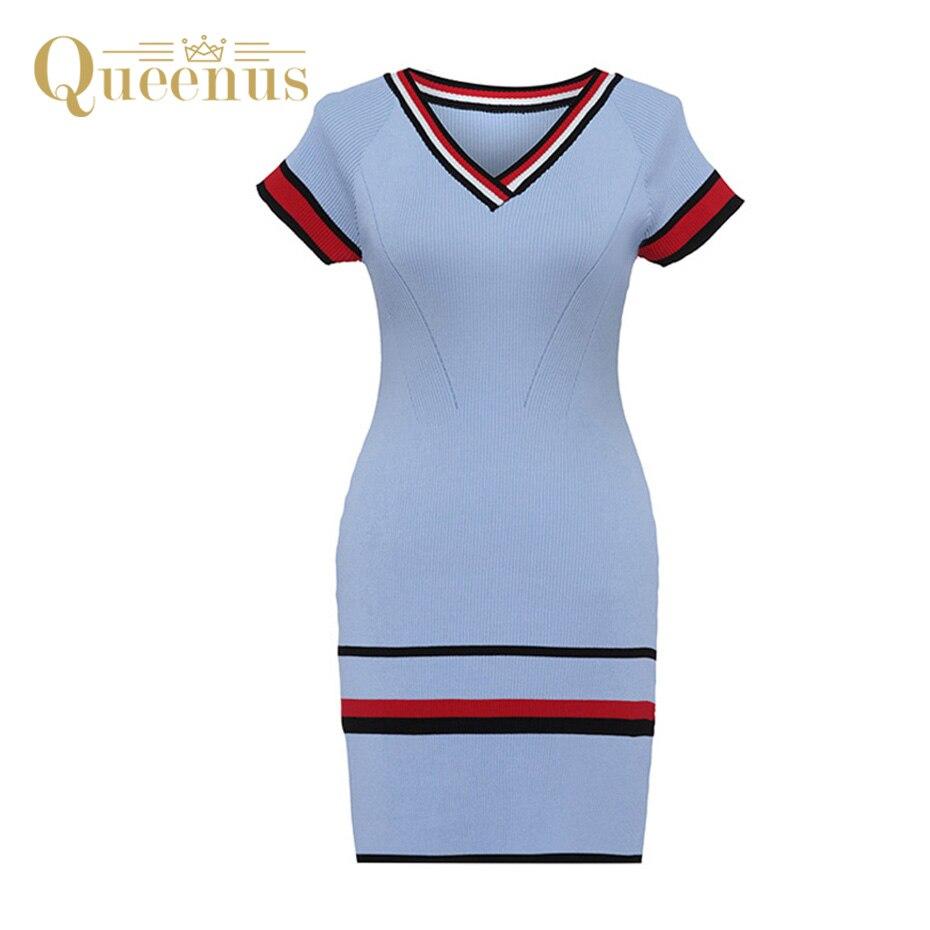 Queenus 2017 Autumn Women Sweater Dress V Neck Knee Length Striped Short Sleeve Elegant Lady Bodycon Women Knitted Dresses