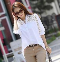 Фотография New Women Casual Basic Summer Lace Chiffon Blouse Hollow out Embroidery Patchwork fashion Top Shirt White Plus Size S~4XL