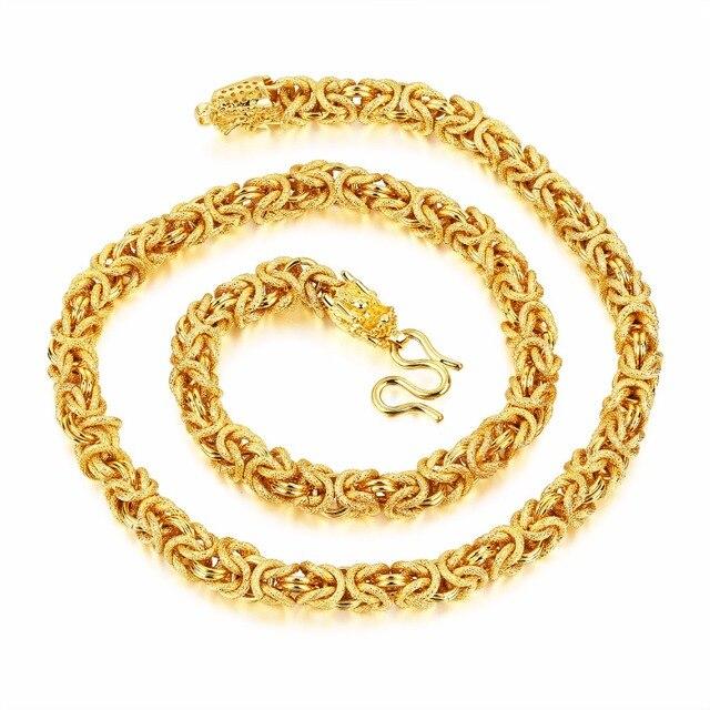 billiger Verkauf Outlet-Store süß billig US $17.47 8% OFF|8mm 24 zoll modeschmuck Gold Farbe Handmade Gliederkette  Halskette drachen Verschluss Schwere 113g gewicht für Männer der Geschenke  ...