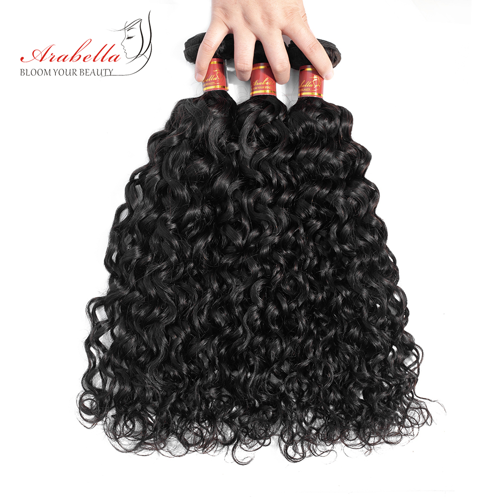 Water Wave Remy Hair 8-36 Inches Peruvian Human Hair Weave Bundles Natural Color Weaving Extensions Arabella Hair