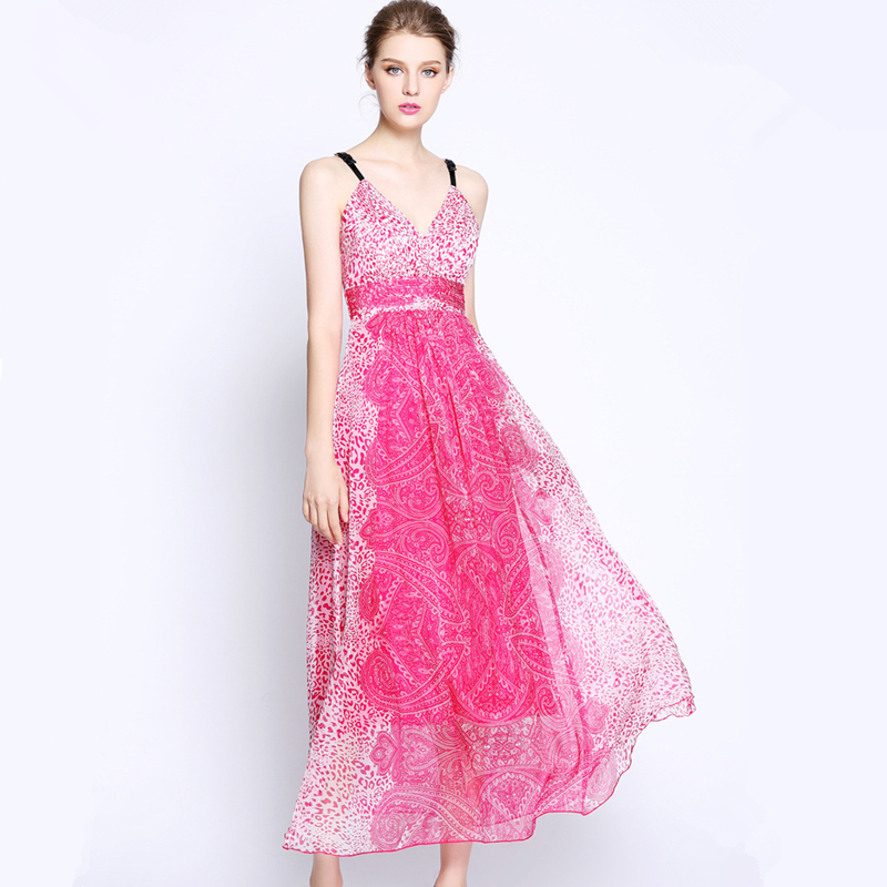 UNIQUEWHO Girls Women Bohemian Dress 100% Silk V Neck Sling Maxi Dress Slim Sexy Summer Holiday Beach Dress Evening Party Dress 2018 girls dress 100