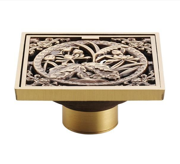 Antique Copper Anti-odor Square Lotus Bathroom Accessories Sink Floor Shower Drain Cover Luxury Sewer Filter GZ8403