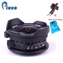 Aparat Pixco 8mm F3.8 kombinezon rybie oko do aparatu Micro cztery trzecie Micro 4/3 + torba na prezent + paski do aparatu