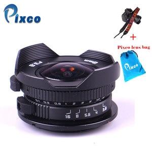Image 1 - Aparat Pixco 8mm F3.8 kombinezon rybie oko do aparatu Micro cztery trzecie Micro 4/3 + torba na prezent + paski do aparatu
