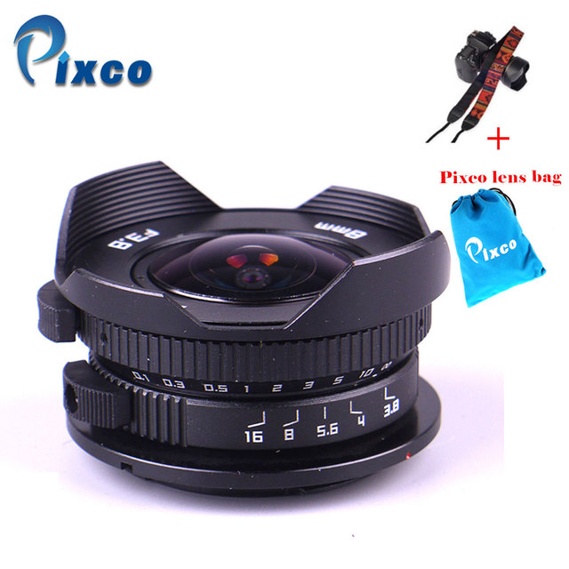 Pixco Camera 8mm F3.8 Fish eye suit For Micro Four Thirds Mount Micro 4/3 Camera + Gift  Lens Bag +Camera Straps