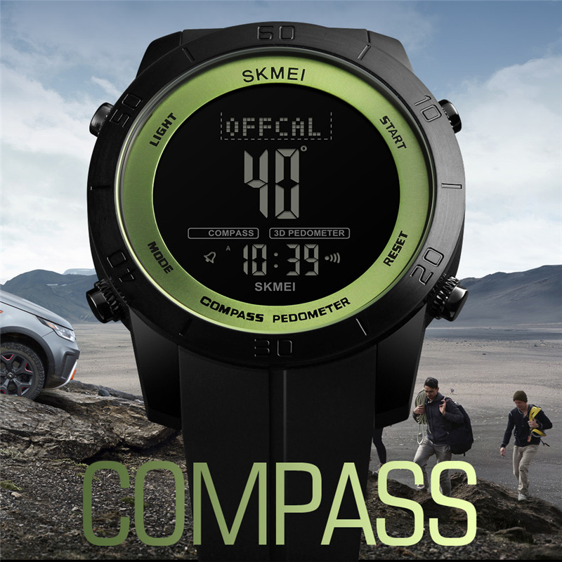 SKMEI Clock Mens Watches Sports Waterproof Pedometer Calories Digital Compass Watch Dual Time LED Electronic Relogio Masculino
