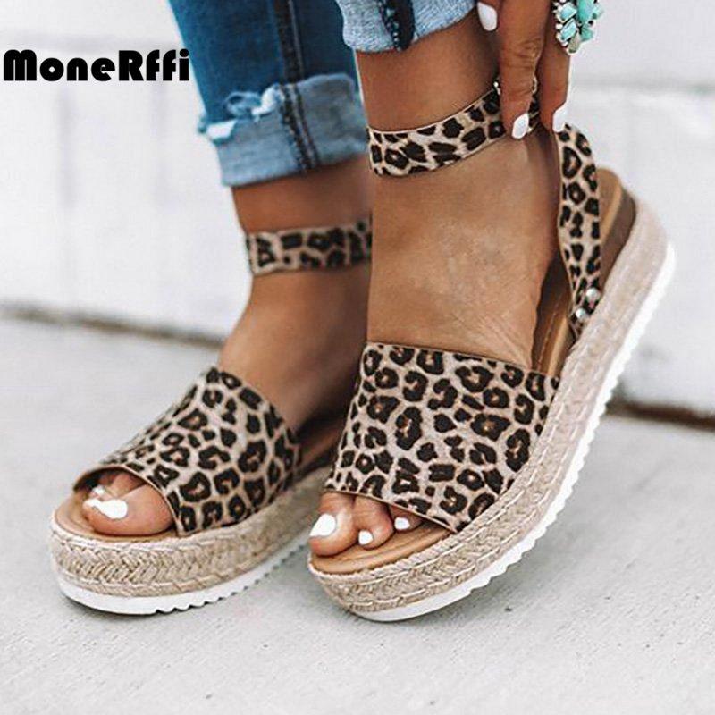 Monerffi Sandals Wedges Strap Espadrille Leopard Snake Women Gladiator Peep-Toe Summer