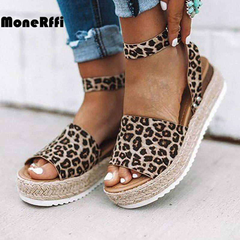 Monerffi Sandals Wedges Strap Espadrille Snake Print Leopard Women Gladiator Peep-Toe title=