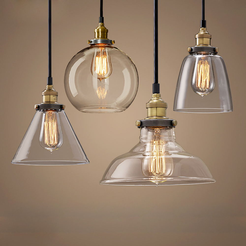 Modern Pendant Lights Nordic Vintage Glass Lamp Russia Loft Kitchen Dining Pendant Lighting Retro E27 Edison