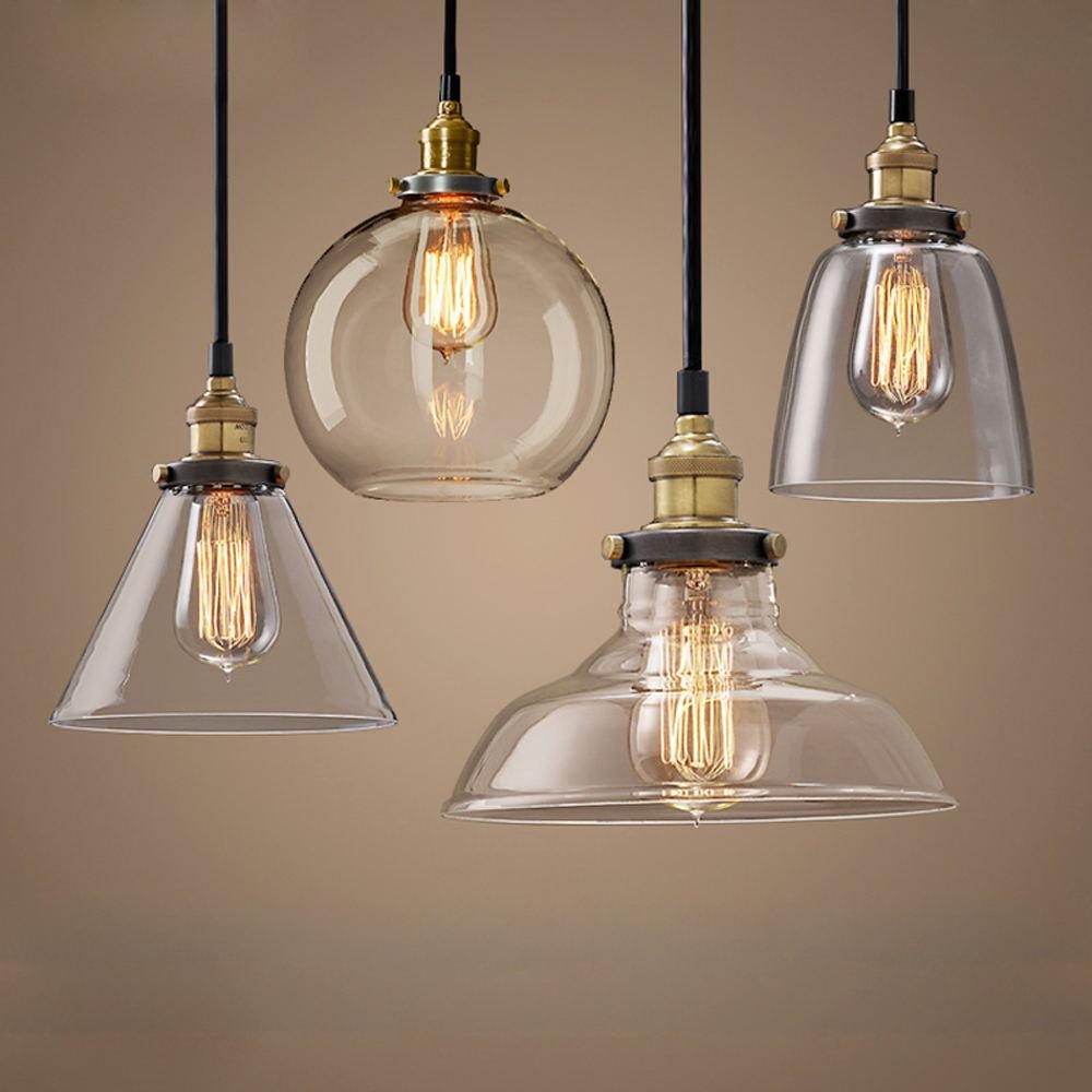 Modern Pendant Lights Nordic Vintage Glass Lamp Russia Loft Kitchen Dining Pendant Lighting Retro E27 Edison Hanging Lamp Glass