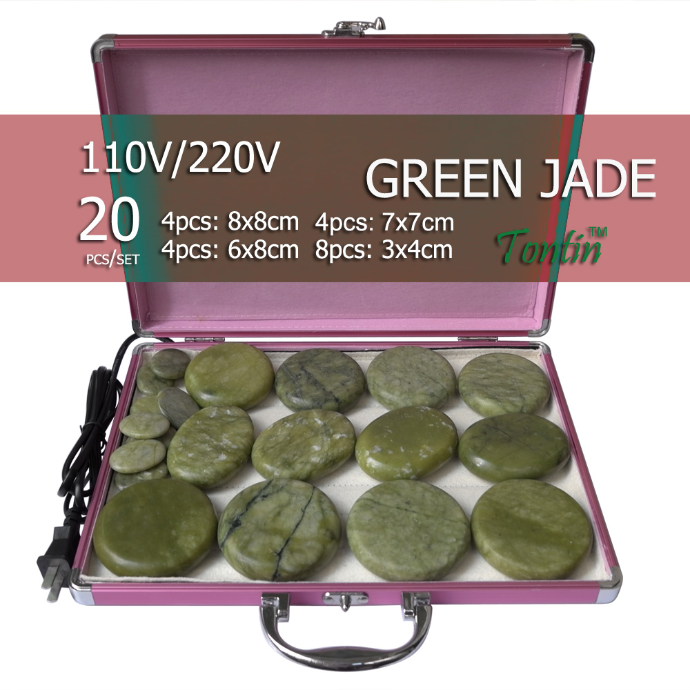 New tontin 20pcs set green jade body massage hot stone face back massage plate salon SPA