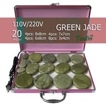 New tontin 20pcs/set green jade body massage hot stone face back plate salon SPA with heater box