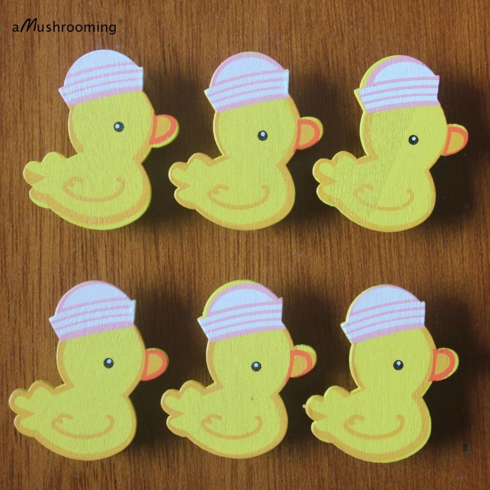 Set of 6 Girl Baby Shower Birthday Decor Yellow Duck Mini ...