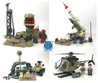 new 4in1 Military Army Black Gold Pursuit Rocket Gun Car Helicopter Building Block Brick Figures Toy DIY Model Boys Gift