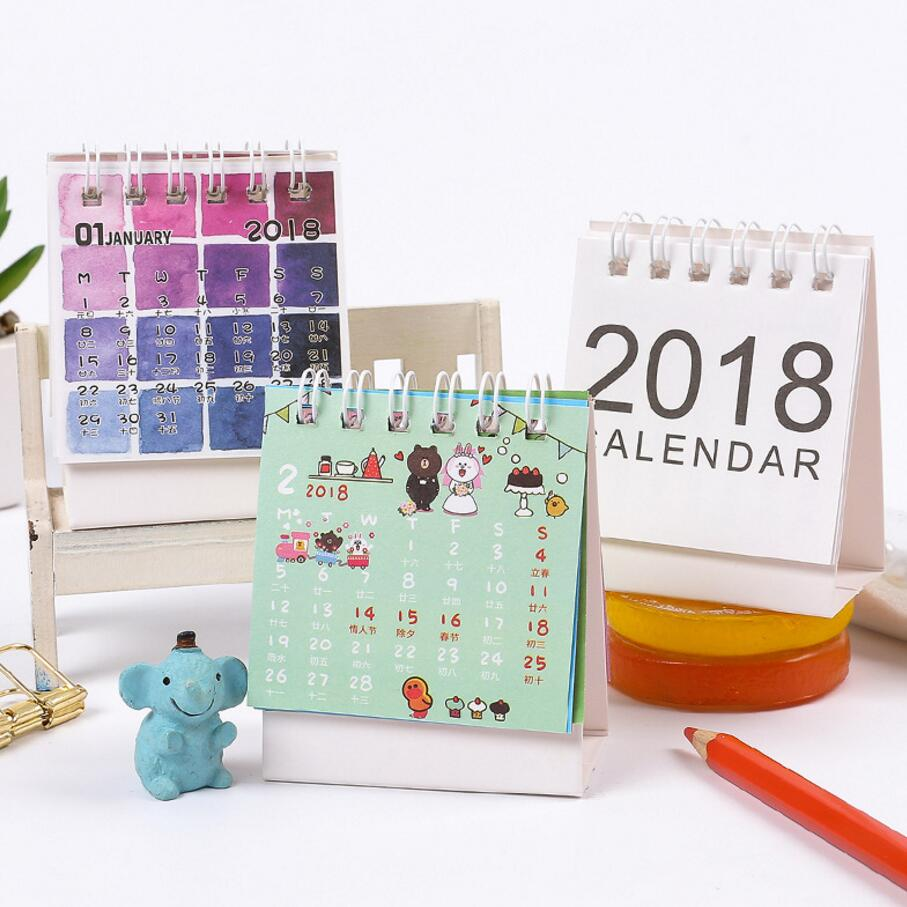 cute mini cartoon desk calendar 2017 2018 two year desk calendar weekly planner give stickers