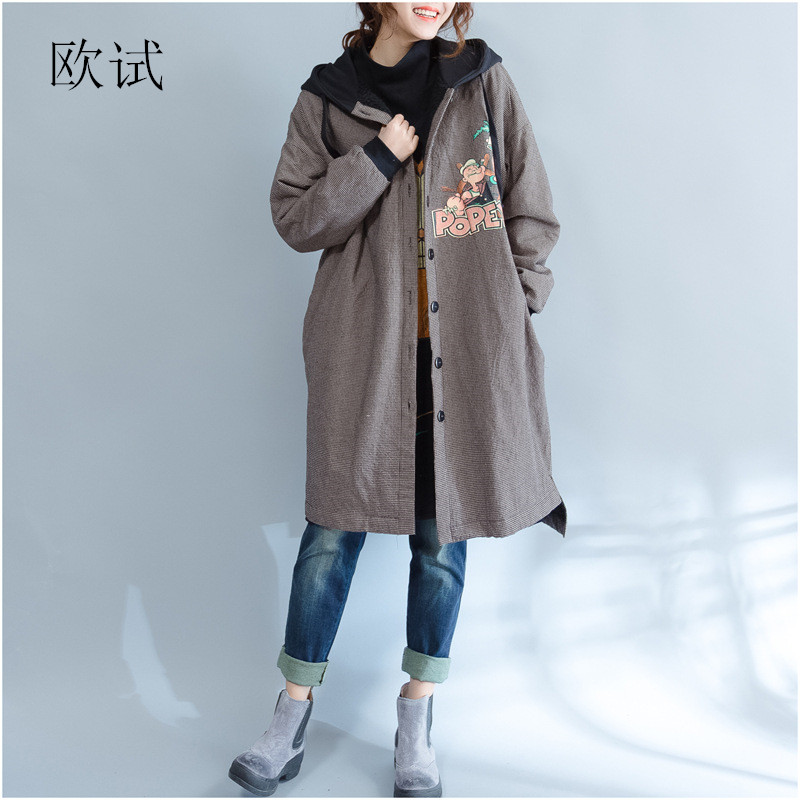 Winter Cartoon Hooded Velvet Coat Plus Size Jacket Autumn Women Loose Casual Womens Coats Ladies Parka
