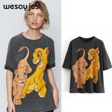 2019 summer t shirt women harajuku korean clothes streetwear cartoon Lion print cotton o-neck white tshirt tops plus size