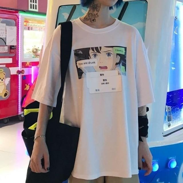 0f91be6fea69 Barato Sunfiz HJN moda japonesa Anime texto estético camiseta ...