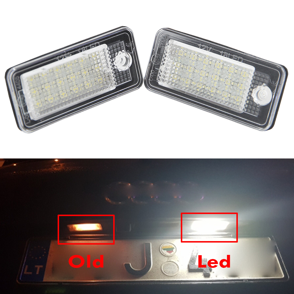Rear LED licence plate light for Audi A3/S3/A4/S4 B6/S4 B7/A6/C6 S6/A8/S8/Q7/RS4/RS6 Plus/vant 18SMD led auto lamp licence light 2pcs car error free 18 led license number plate light white lamp for audi a3 s3 a4 s4 b6 b7 a6 s6 a8 q7