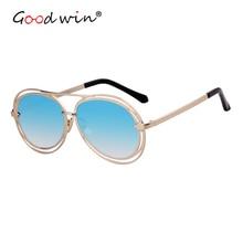 Good Win New 2019 Pilot Sunglasses Women Luxury Brand Designer Oval Fashion Coating Mirror UV400 Female Sun Glasses Pink Black
