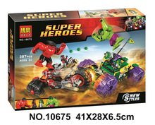 где купить Bela Batman Super Heroes Hulk Vs Red Hulk Building Blocks Kits Bricks Movie Model Kids Classic Toys Marvel Compatible Legoings дешево