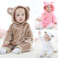 2016 Cute Winter Warm Long sleeve Coral Fleece Infant Baby Rompers Cartoon Jumpsuit Boys Girls Animal Overall Baby Clothes