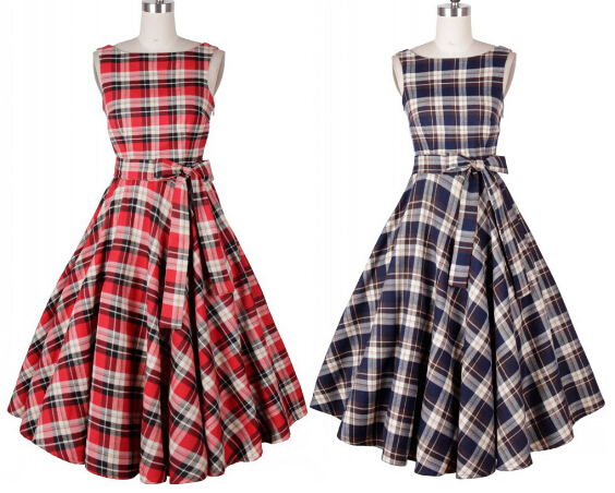 free shipping Audrey Hepburn style O-neck plaid belt big swing vestidos women Celebrity prom vintage 50s dresses