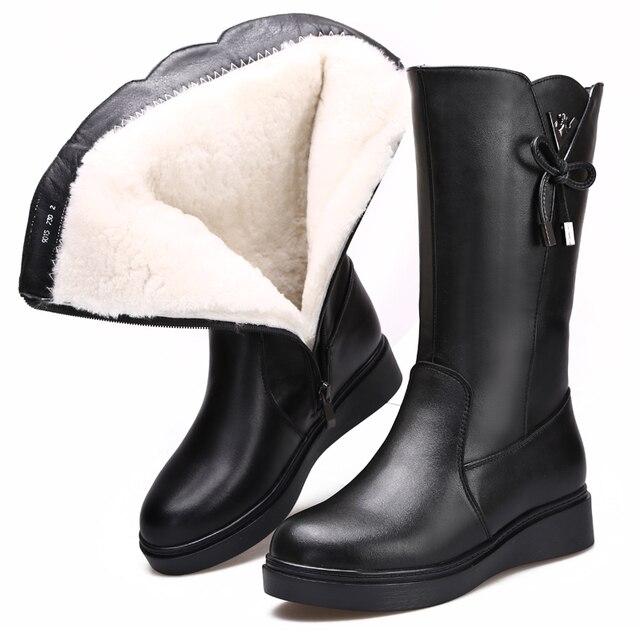 a5e35910d 2018 nueva moda invierno mujeres botas confort lana caliente botas de nieve  plana antideslizante vaca cuero