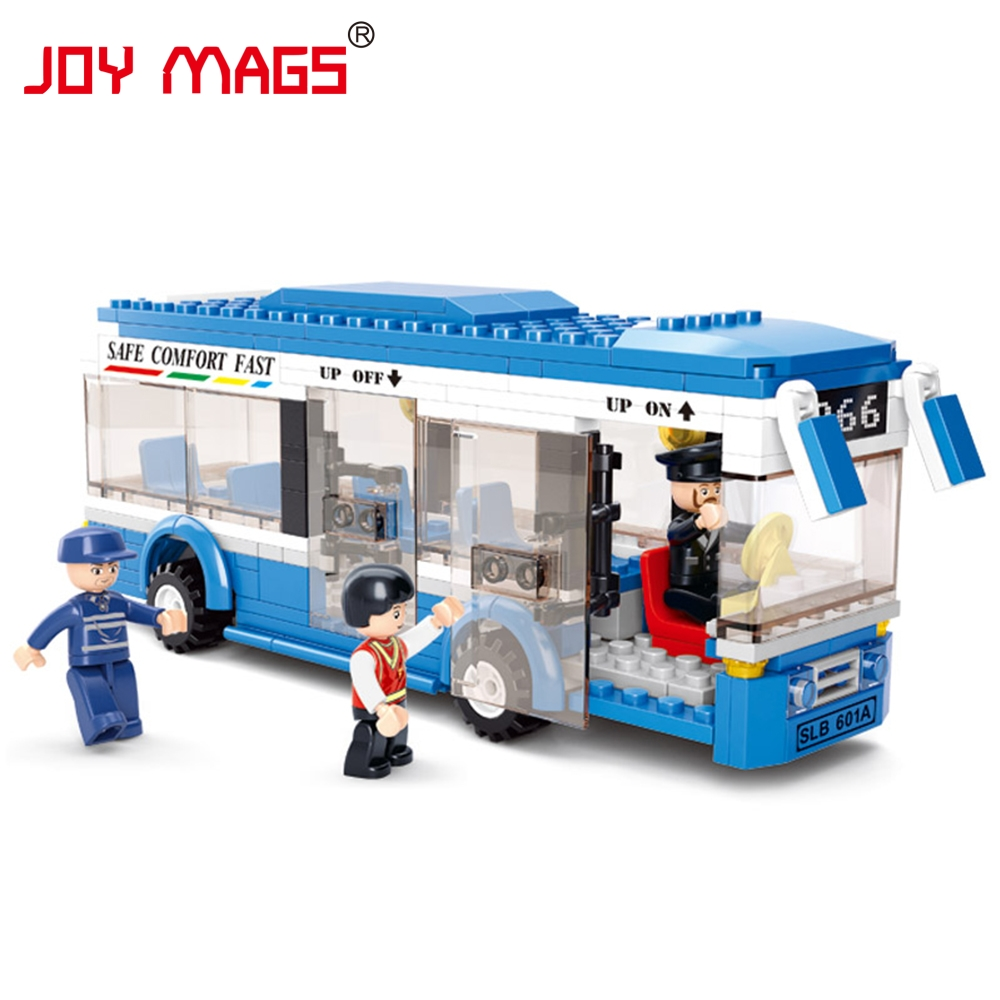 JOY MAGS City Bus Sluban Monolayer Building Blocks DIY toys Educational toys for Children Compatible with L Branded Block sluban 0372 block compatible legoe aviation city aircraft repair shop model 596pcs educational building toys for children