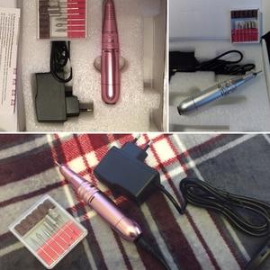 """Image 5 - ורוד/כסף פרו נייד נייל מקדחת מכונת מניקור נייל חשמלי חותך 25000 סל""""ד 110 240V מתכת קל לתפעול עט צורה"""