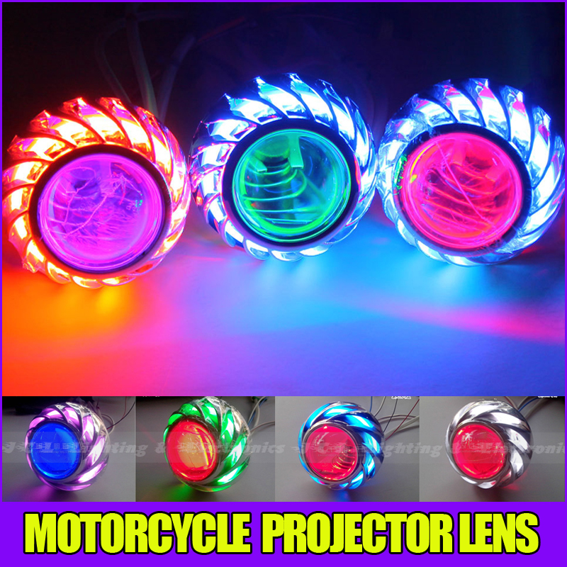 Bi Xenon HID Projector Lens Motorcycle auto headlight universal lamp Yellow Blue Red White Green CCFL Angel eye h6 motorcycle motor hid xenon kit bi motorcycle hid headlight bulbs universal motorbike hid light ballast lamp 12v auto