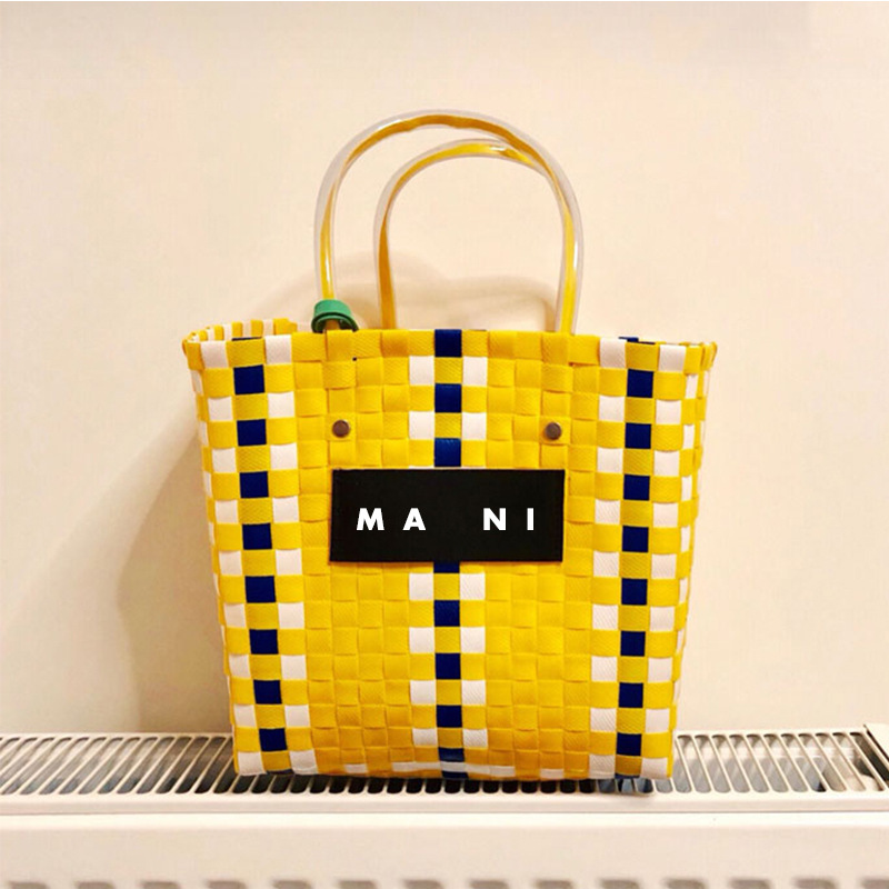 Ins Hot Summer Beach Basket Patchwork Striped Hand Knitted Color Casual Women Handbag Totes Trend Fashion PVC Bag stylish flanging color block striped knitted beanie for women