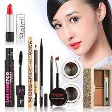 Hot Pro Makeup Set Eyeshadow Palette Eyelashes Brush Mascara Eyeliner Pen kit maquiagem Lip Stick 6Pcs Cosmetic Set