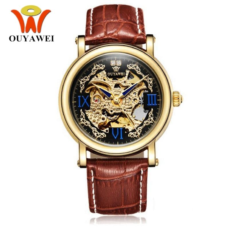 b7a2b6b664d OUYAWEI Moda Homem Relógio Masculino Automático Auto Vento relógio de Pulso  Pulseira de Couro de Luxo
