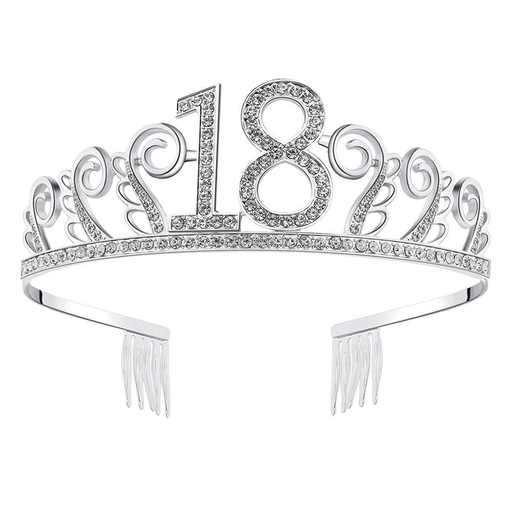 Beautiful New Crystal Rhinestone Tiara Princess Crown Birthday Crowns Silver Diamante Happy 18 21 30 40