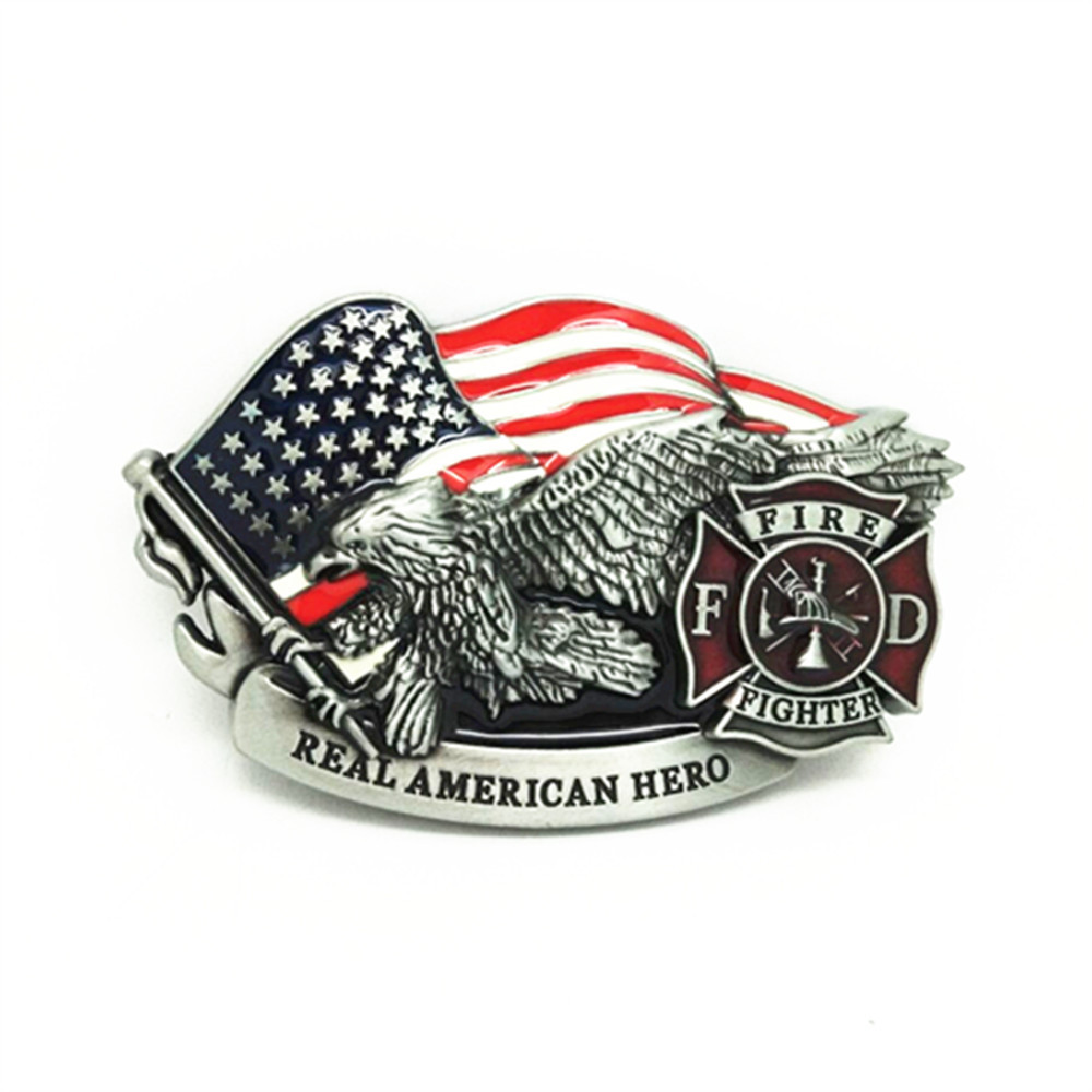 Belt Accessories Fire Fighter Real American Hero American Flag Eagle Metal Belt Buckle For Belt 4 Cm