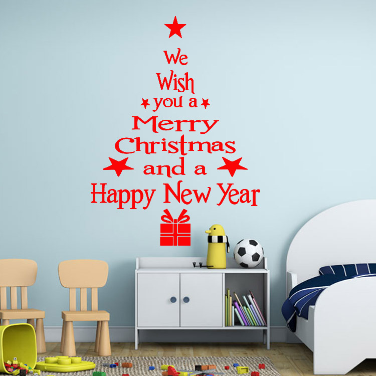 Big size Happy New Year Christmas Tree Wall Sticker Greetings Quote