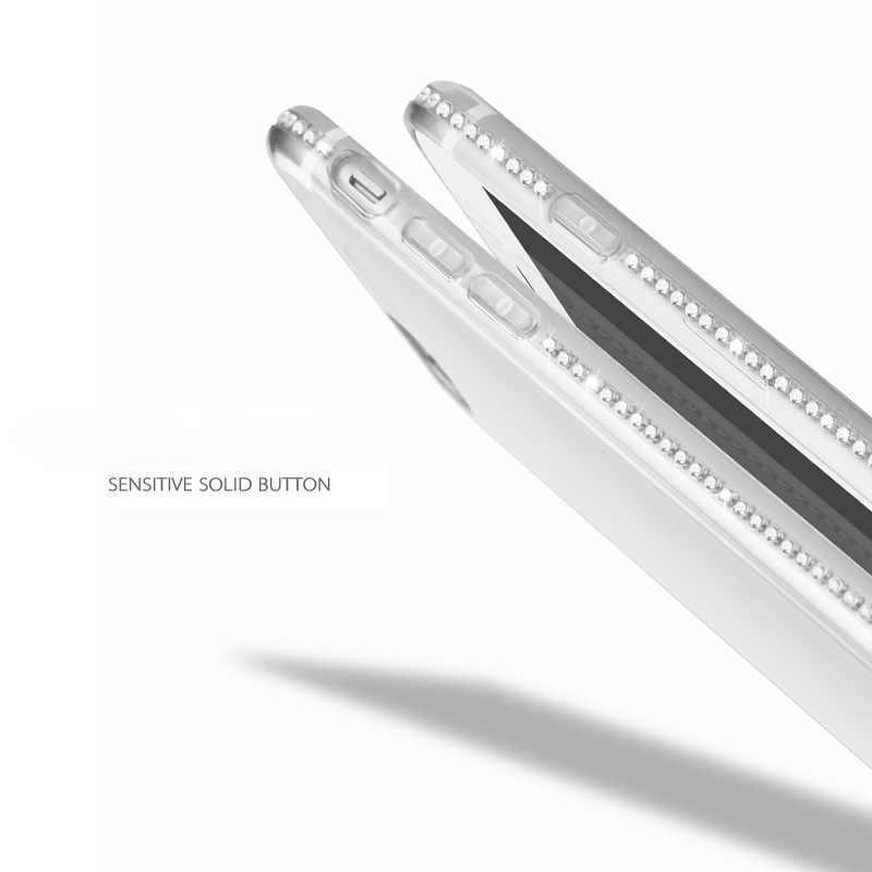 حافظة ماسية فاخرة وشفافة لهاتف سامسونج جلاكسي S8 S9 Plus S7 S6 edge plus S5neo Note 4 5 grand prime غطاء حماية للهاتف المحمول