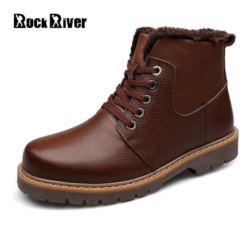 2017 Warm Fur Winter Shoes Men Waterproofs Ankle Genuine Leather Winter Boots Men Plush Black Mens Winter Shoes Big Size 38-47