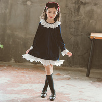 Teen Dress Fall Winter Back To School Lace Children's Dress Korean Vintage Velvet Girls Clothes 3 4 5 6 7 8 9 10 12 13 14 Year