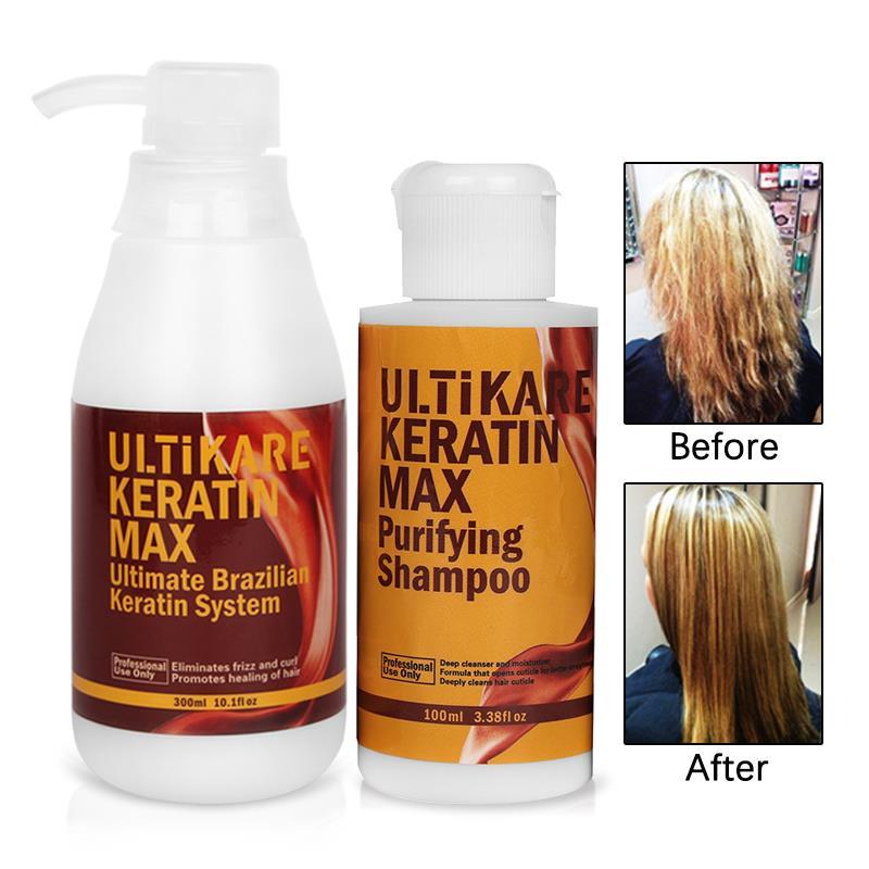 Купить с кэшбэком Brazilian Keratin Treatment 300ml Free Formalin 100ml Purifying Shampoo Straightening and Repair Curly Hair Set Get Free Gifts