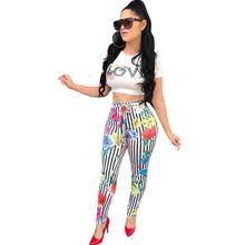 New Sexy Letter Print Two Piece Set Women Summer Petal Sleeve Short Top And Striped Long Pants Pink Sets piece Outfits