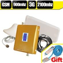 (Regalo 2 En 1 Cable USB) GSM 900 WCDMA 2100 de Doble Banda Móvil Señal Booster GSM 3G UMTS Teléfono Celular del Repetidor Amplifer Set