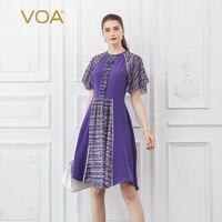 VOA тяжелый шелк женские платья миди фиолетовое платье для вечеринки застежка клипса с жемчугом милые осенние узкие рукава до локтя середины