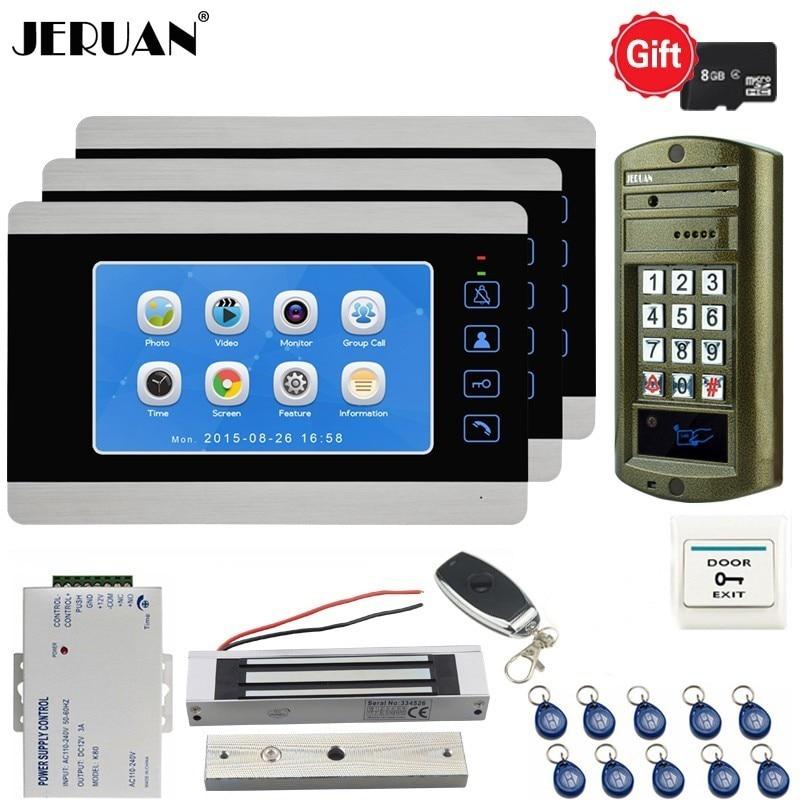 JERUAN 7 Inch Video Doorbell DoorPhone Voice/Video Record Unlock Intercom System kit 3 Monitors Metal Waterproof RFID Camera 1V3