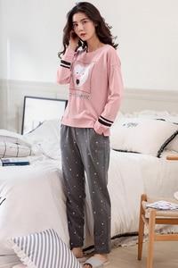 Image 5 - Autumn Winter Women Pyjamas Cotton Clothing Long Tops Set Female Pyjamas Sets Night Suit Sleepwear Women Home Clothes Ladies Set